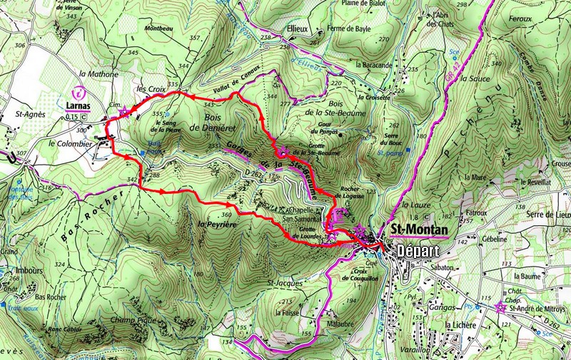 Itinéraire Saint-Montan